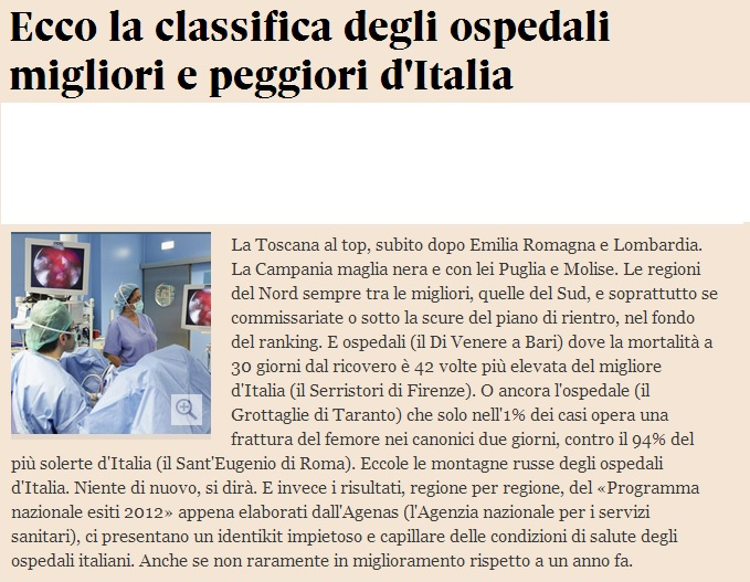CLASSIFICA OSPEDALI