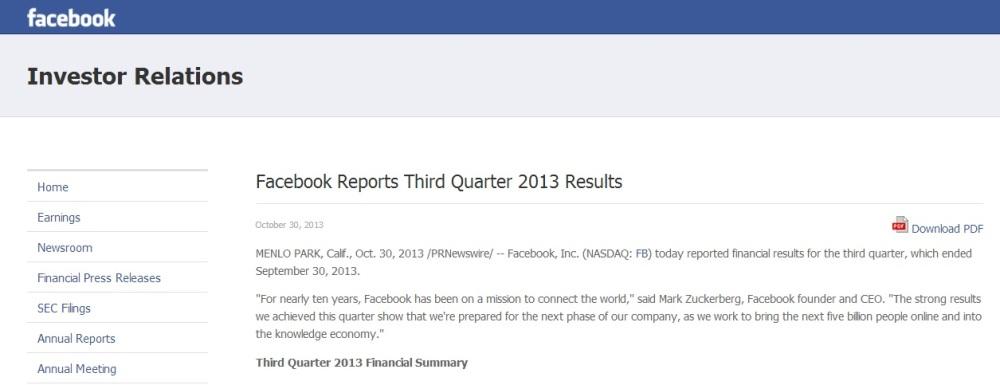 FACEBOOK STA INIZIANDO A FARE SOLDI.  Guarda i dati di bilancio del 3° trimestre 2013