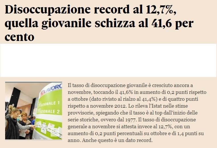 disoccupazione in italia
