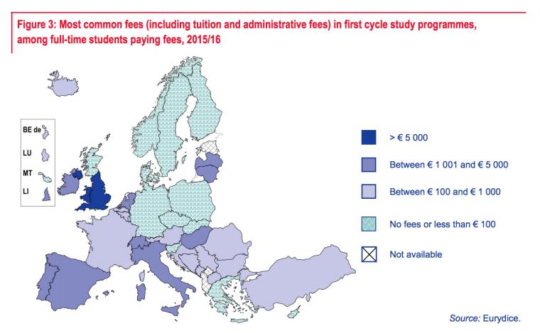 mappa tasse universitarie in europa